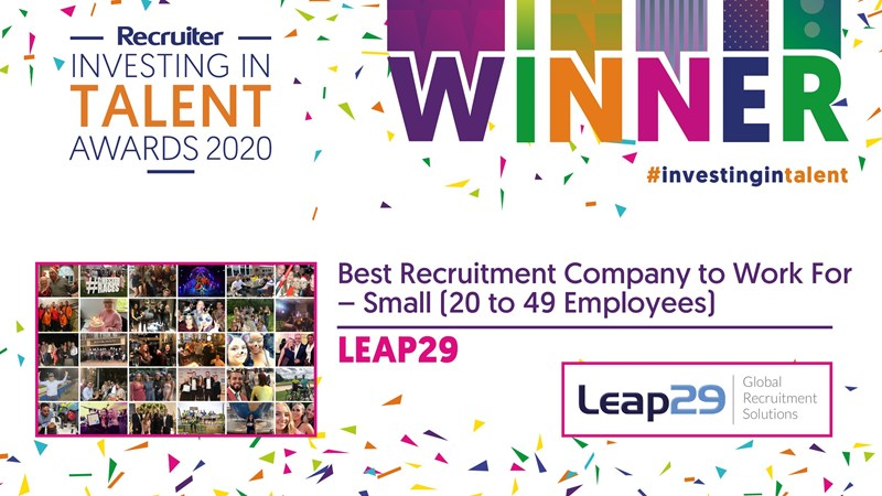 Leap29 Wins at Investing in Talent Awards 2020